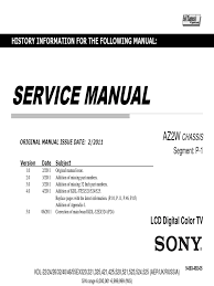 manual servico tv lcd sony kdl 55ex525 chassis az2w computer