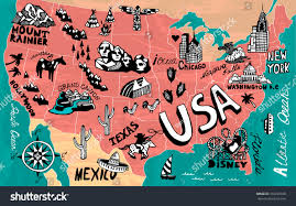 Chicago Map Of Usa by Illustrated Map Usa Stock Vector 316238168 Shutterstock