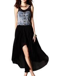 buy women lace splice collar empire waist ankle length dress black