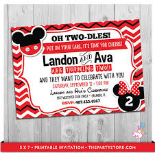 twin invitations mickey and minnie mouse twin birthday