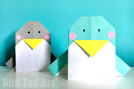 easy origami penguin cards red ted art u0027s blog