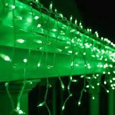 and green lights with icicle lights lighting