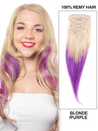 Blonde Weft Hair Extensions by Inch Bleach Blonde And Purple Ombre Clip In Hair Extensions Two