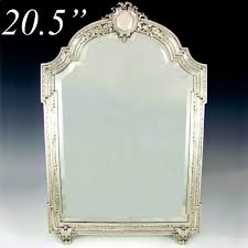 Antique Bathroom Mirrors by Large Antique 19c French Sterling Silver Beveled Glass Table Top