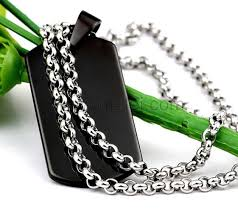 Personalized Mens Necklaces Mens Id Custom Name Plate Steel Pendant Necklace Personalized