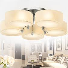 Large Semi Flush Ceiling Lights 5 Light Drum Glass Shade Modern Semi Flush Ceiling Light