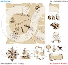 Old Treasure Map Clipart Worn Old Treasure Map And Design Elements Royalty Free