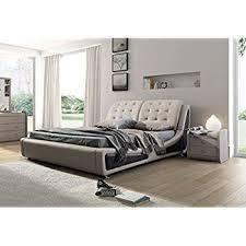 King Platform Bed Amazon Com Napoli Modern Platform Bed Cream Black King Kitchen