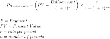 loan formulas payment on a balloon loan formula and calculator