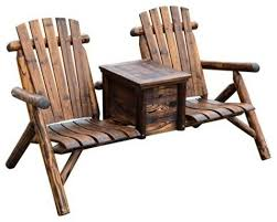 Adarondak Chairs Wooden Outdoor 2 Seat Adirondack Patio Chair With Ice Bucket