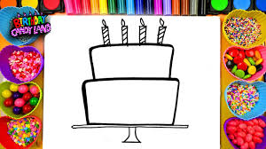 learn to draw and color for kids birthday cake coloring pages 01
