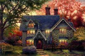 14 cottage house painting garden ii kinkade