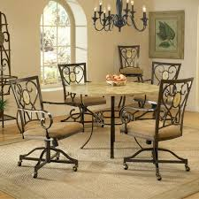 Round White Kitchen Table Iron by Brookside Metal Round Dining Table U0026 Caster Chairs In Brown By