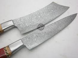 damascus kitchen knives lot of 2 pcs damascus kitchen knife custom handmade damascus steel