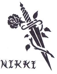 sword and rose tatto with name by tribiany on deviantart