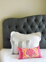 king sized gray tufted upholstered wall mounted custom headboard