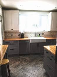grey kitchen cabinets with butcher block countertops outofhome