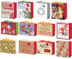 set of 12 large christmas gift bags with handle u0026 tag mixed