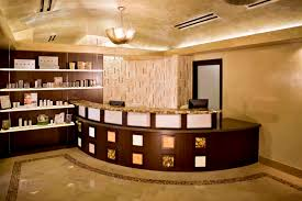 furniture spa reception desk design for small space with curved