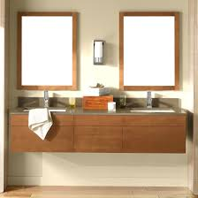 bathroom oak floating vanity cabinets with double sink and tearing