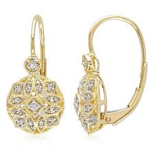 yellow gold earrings miadora 14k yellow gold 1 8ct tdw diamond vintage cluster