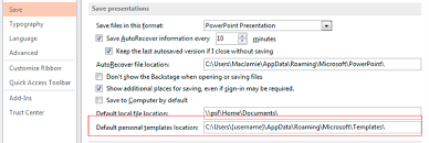 office templates location s in relation to windows registry
