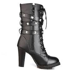 click to buy personality ankle boots low heel amazon com susanny s mid calf leather boots high heel lace