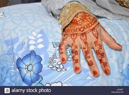 henna on hand of indonesian wedding bride stock photo royalty