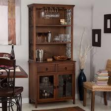 Wood Bakers Racks Furniture Dark Oak Wood Finish Bakers Rack Server With Wine Storage Hutch
