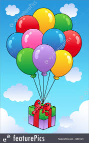 balloons gift illustration of floating gift with balloons
