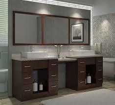 Modern Walnut Bathroom Vanity by Ariel Roosevelt Double 97 Inch Modern Bathroom Vanity Set Walnut