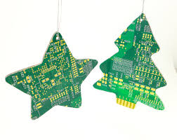 circuit board tree ornaments and tree