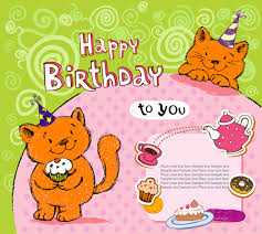 cute cat birthday cards creative vector material 03 vector