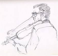 violinist 1979 pencil sketch third time around