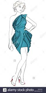 cocktail sketch fashion illustration of a wearing cocktail dress stock photo