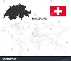 World Map With Flags Switzerland Map On World Map Flag Stock Vector 749863123