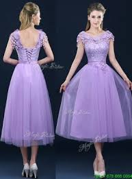 lavender bridesmaids dresses cap sleeves lavender bridesmaid dress with lace and appliques
