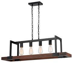 Wood Pendant Light Bronze Metal Wood Pendant 4 Lights 39 W Fx 3586 4