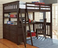 full size loft bed with desk underneath modern home