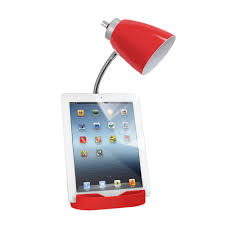 limelights stick l with charging outlet and fabric shade limelights gooseneck organizer desk l with ipad tablet stand book