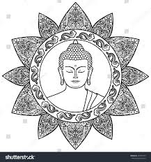hand drawn buddha head floral decoration stock vector 497097559