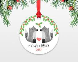 personalized christmas ornament sloth couple wedding christmas