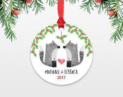personalized christmas ornament sloth couple wedding christmas