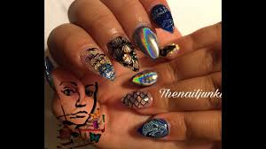 mermaid life stamping nail art acrylic nails on little girls