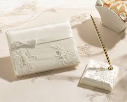 wedding guest book and pen set lace ivory guest book pen set