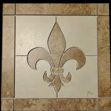square fleur de lis backsplash tile floor medallion artisan