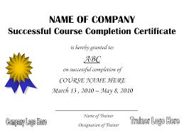training course certificate template