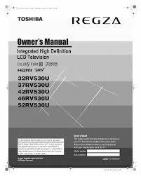 toshiba flat panel tv regza 32rv530u pdf user u0027s manual free