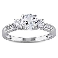 wedding ring miadora 10k white gold created white sapphire and diamond accent 3