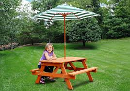 wooden childrens picnic table children s picnic table with shade umbrella swing set accessories